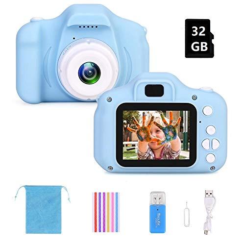 F Kinderkamera Digital Kamera Mini Kamera Kinder Spielzeug 2.0 Zoll Bildschirm Kamera Video Spiel Multifunktion mit 32GB SD Karte USB Ladekabel (Blau)