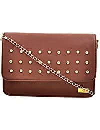 Yelloe Tan Synthetic Leather Sling Bag With Chain Strap And Studded Flap.