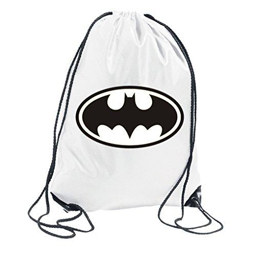 Youth designz Turn Bolsa con diseño-Modelo Batman-Bolsa de deporte mochila bolsa yute Bolsa Hipster Fashion, color Weiß, tamaño Talla única