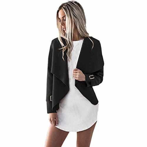 iHENGH Damen Kardigan Top,Ladies Warm Wolle Lange ÄRmel Casual Mantel Cardigan Wasserfall Jacken Parka Outwear Jacke Coat Tops (EU-38/CN-L,Schwarz) (Wird Halloween Warum Gefeiert)