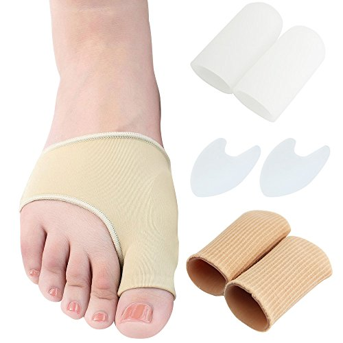 Gel Bunion Treatment Kit (8Pcs), JTDEAL Premium Bunion Corrector Includes Footful Bunion Pads Sleeves Gel Toe Caps Big Toe Protectors Toe Spacers Best Hallux Valgus Protector Pain Relief One Size Fits Most Left & Right