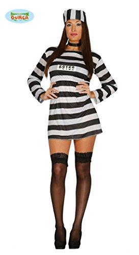 sexy Sträfling Kostüm für Damen Gr. M/L, (Streifen Kostüme Sexy)