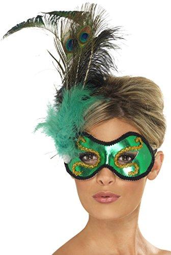 �ne Pfauen-Augenmaske mit seitlicher Feder-Verzierung (Feder Kostüme Augenmaske)