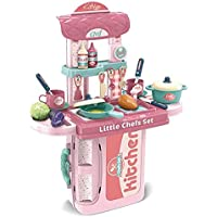 Cable World Plastic 2 in 1 Portable Pretend Food Party Role Cooking Kitchen Play Set Toy for Boys and Girls - Pink