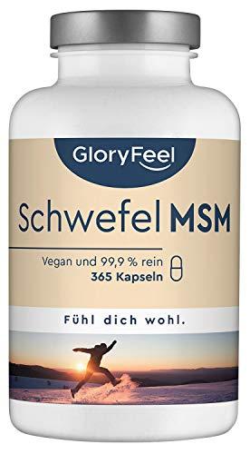GloryFeel® MSM 365 vegane Kapseln – VERGLEICHSSIEGER 2019* – 1600mg MSM (Methylsulfonylmethan) Pulver je Tagesdosis – 6 Monatsvorrat – Laborgeprüft Ohne Zusätze hergestellt in Deutschland