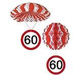 bb10 Schmuck 60.Geburtstag Deko Hängedeko Fallschirm und Ballon mit Zahl 60 Dekoration zum 60er Geburtstag Party oder andere Anlässe