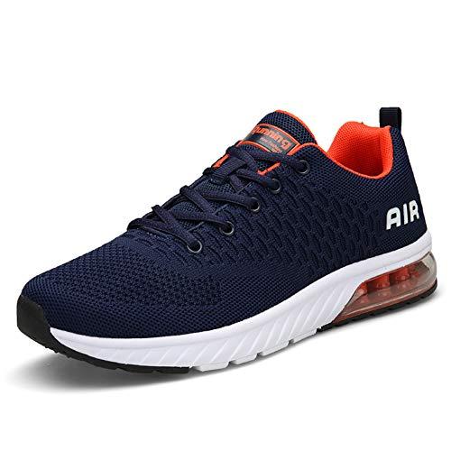 Straßenlaufschuhe Herren Damen Laufschuhe Fitness Turnschuhe Sneakers Air Sportschuhe Running Shoes(Blau Orange, 40EU)