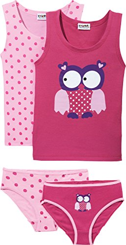 Kinderbutt Unterwäsche-Set 4-tlg. Single-Jersey pink Größe 122 / 128 (Mädchen Größen Unterwäsche)