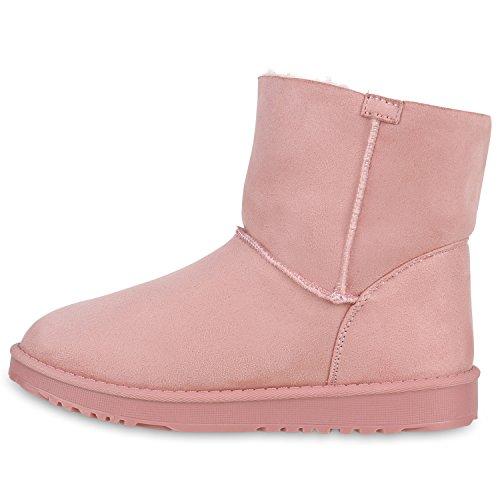 Warm Gefütterte Damen Stiefeletten Glitzer Stiefel Schlupfstiefel Boots Rosa Bommel