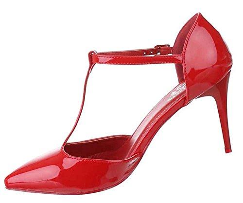 Damen-Schuhe Pumps | Frauen High Heels mit Riemchen und 8 cm Stiletto-Absatz in verschiedenen Farben und Größen | Schuhcity24 | T-Spange Abendschuhe in Lacklederoptik Rot
