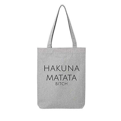 Fossil Grau T-shirt (hakuna matata Bag Frauen Shopper grau Jute Beutel Handtasche Strand Sommer faltbar klein bedruckt Motiv Print (95-U760-Grau))