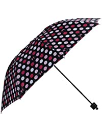 Umbrella Mart 3 Fold Digital Printed Rain & Sun Protective Umbrella (Pink/Black)