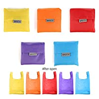 MStar Folding Pouch Storage Bag Reusable Shopping Shoulder Tote Handbag Grocery Bags (5Colors, 5PCS)