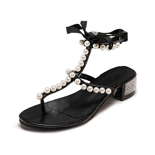 Meilleure Vente LuckyGirls Women's Sandals Pearl Rhinestone Clip Toe Sandals Lace-Up High Heels Beach Sho