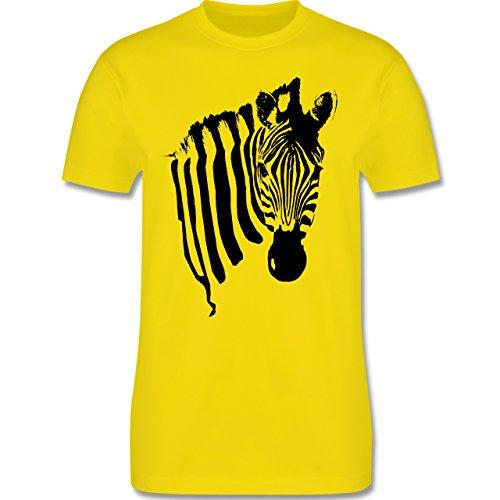 Shirtracer Wildnis - Zebra - Herren T-Shirt Rundhals Lemon Gelb