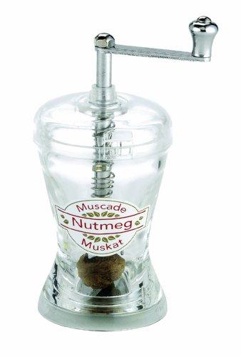 Cole & Mason Muskatnuss-Mühle H277130 Durchsichtiges Acryldesign in Schlanker Sanduhr-Form für 3-5 Muskatnüsse. Höhe 100 mm