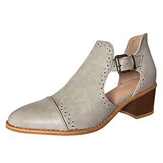 MRULIC Frühjahr Einzelne Schuhe Damen Runde Zehe Schuhe Hollow High Heels Stiefel(Grau,40 EU)