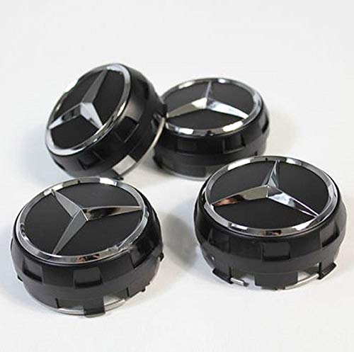 Für Mercedes-Benz 4 Stück AMG Radnabenabdeckung SCHWARZ MATT Stern Nabendeckel 75mm Nabenkappen Radkappen A0004000900 9283 im Zentralverschlussdesign