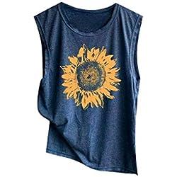 Camisetas para Mujer,❤️Riou Sexy Halter sin Mangas Boho Camisola Top de Mujer con Estampado Casual Camisa de Verano Moda 2019 Blusa Tops para Primavera Verano