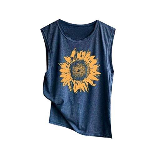 Damen T Shirt, CixNy Bluse Damen Kurzarm Sommer Ärmelloses Shirt Mit Sonnenblumen Print Lässig Lose Tank Weich Komfortabel Oberteil Tops (Marine, ()