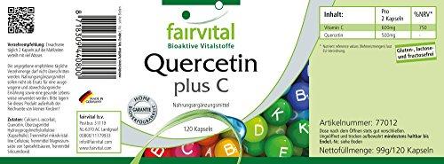 Quercetin 250mg plus vitamin C 300mg, vegan, 120 quercetin capsules