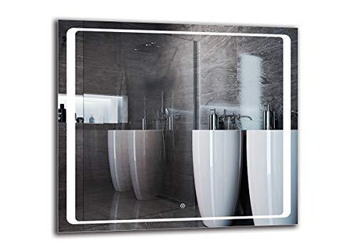 Espejo LED Deluxe - Dimensiones del Espejo 90x80 cm - Interruptor tactil - Espejo de baño con iluminación...