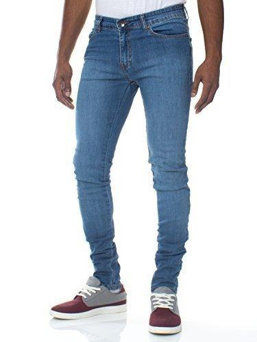 Enzo Jeans Herren superdünn enganliegend schlanke Passform Stretch Denim Retro Hell Steinwäsche