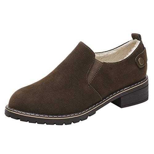 Vintage Bottes Femmes Chaussures à Bout Rond Chaussures Plates Bottines Hasp en Daim Couleur Unie Bottes Martin Chaud de LuckyGirls