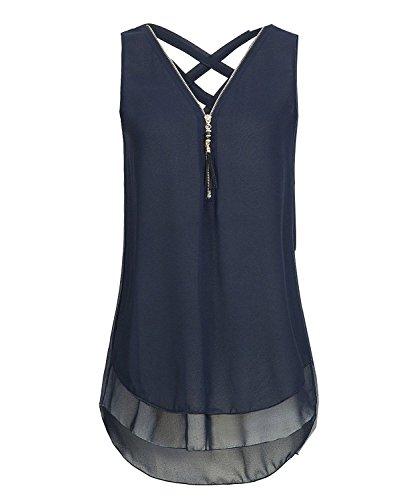 ASKSA Damen Chiffon Bluse Ärmellos Reißverschluss V Ausschnitt Rückenfrei Tank Tops T-Shirt (Navy Blau, M)
