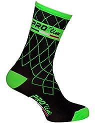 Proline Team Calcetines de ciclismo verdes flúor; 1 par de talla única