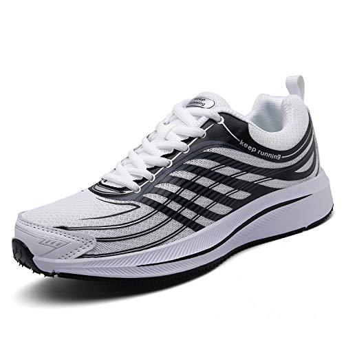 SOLLOMENSI Sneaker Casual Uomo Scarpe da Ginnastica Corsa Scarpe Sportive Correre Indoor e Outdoor Multisport Trail Running Fitness 41 EU Bianco