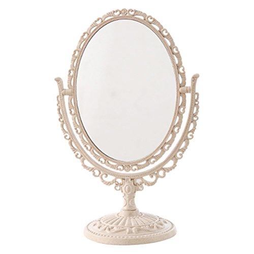 Foto de Espejo de sobremesa tocador de sobremesa Espejo de doble cara con rotación de 360 grados Ampliación 3x (beige)