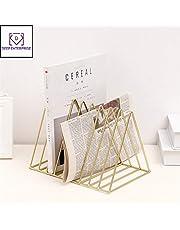 DEEP ENTERPRISE Gold Luxury Bookshelf Metal Geometry Newspapers and Magazines Gold Storage Rack Shelving Decoration