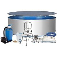 Pool Deluxe forma circolare Ø 3,50m x 1,20m, a parete in acciaio 0,6mm Schermo blu 0,6mm cuneo piega Tessuto telone telo di copertura in acciaio inox scaletta 2X 4gradini con piattaforma protezione del suolo Filtro a sabbia Flow da 7con quarzo 7,0m³/h Filtro sabbia 25kg Skimmer e tubo Set di collegamento