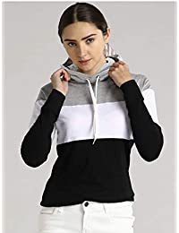 the bebo Multicolor Full Sleeve Cotton Blend Hoodie T-Shirt for Women