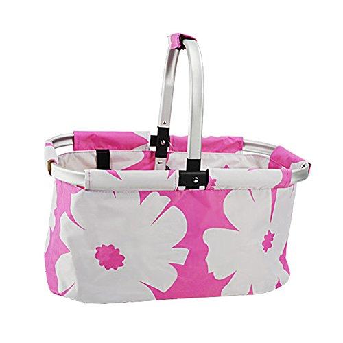 QINAIDI Woven Shopper Retro Picknick-Tasche Party Geschenk Tragetaschen Rainbow Picknick-Tasche Faltender Einkaufskorb,Pink (Woven Shopper)