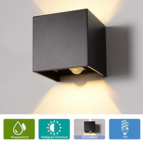 Elitlife 7W Dimmbar Aluminium Wandleuchte Außenlicht LED Warmweiß 230V 3200K Einstellbare Beleuchtungswinkel LED für Innen und Außen