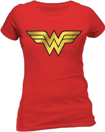 DC Comics Wonder Woman - Foil Logo Short Sleeve T-Shirt, Red, 18