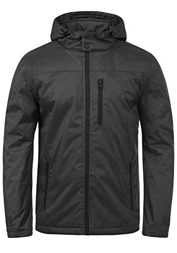 !Solid Matheo Herren Übergangsjacke Herrenjacke Jacke mit Kapuze, Größe:XXL, Farbe:Black Melange (9000M) Army Black Fleece-jacke