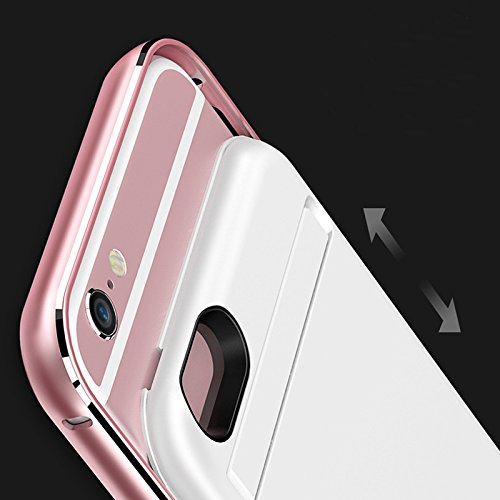 CaseforYou Batteriefach Hülle iPhone 6 Plus/ iPhone 6s Plus Taschen Schalen Akkus Slim Smart Battery Backup Case Metal Frame 3300mAh Power Bank Charger Cover with Kickstand Batteria Schützend Batterie Silber