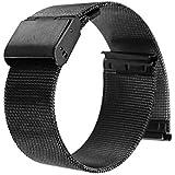WINOMO 22mm Watch Band orologio cinturino estremità diritta maglia Bracciale in acciaio con chiusura déployante (nero)