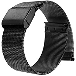 WINOMO 22mm Stainless Steel Watch Strap Band Straight End Mesh Bracelet with Folding Clasp (Black)