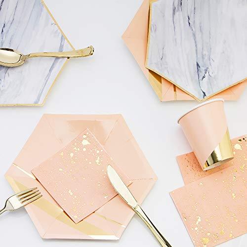 (8 stilvolle Goldfolie Streifen / Marmor Einweg Gedeck - 8 Hexagon Teller, 8 Hexagon Salat oder Dessertteller, 8 Tassen, 20 Servietten & 8 Vergoldung Kunststoff Gabeln Messer & Löffel)