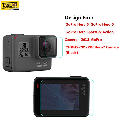 Taslar Front and Back Tempered Glass for GoPro Hero 5, 6, CHDHX-701-RW 7 Black, Sports and Action Camera 2018 (Transparent)