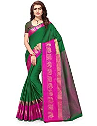 Riva Enterprise Women's Cotton Silk Bordered Elephant Pattern Green Saree With Shine Blouse