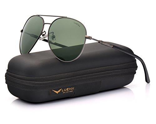 Luenx uomo occhiali da sole aviatore polarizzate di guida con il caso - protezione uv 400 specchio verde lenti argento telaio 60mm(17-verde)