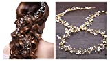 Ziory Gold Zinc Alloy Crown Pearl Floral Hair Accessories for Girls and Women