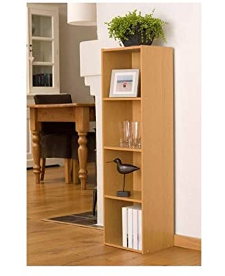 Beech Finish 4 Shelf Wooden Bookcase
