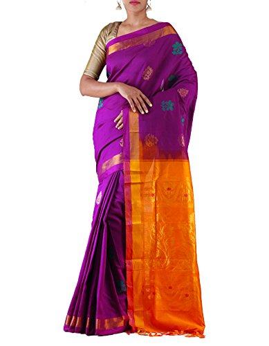 Unnati Silks Women Purple-Yellow Pure Handloom Uppada Silk Cotton Pattu Saree
