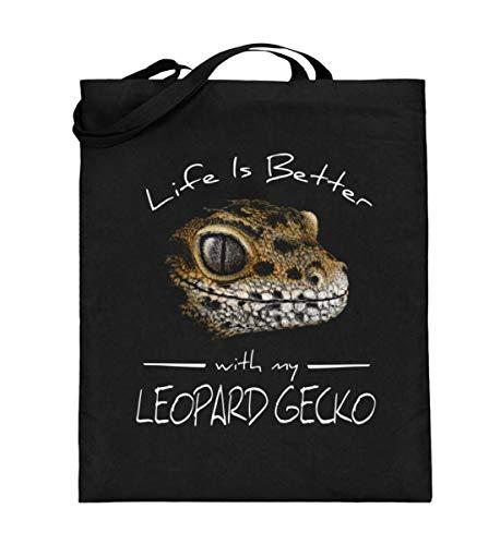 Shirtee Life Is Better With My Leopard Gecko | Für Reptilien-Haustier-Halter und Gecko-Liebhaber - Jutebeutel (mit langen Henkeln) -38cm-42cm-Schwarz -